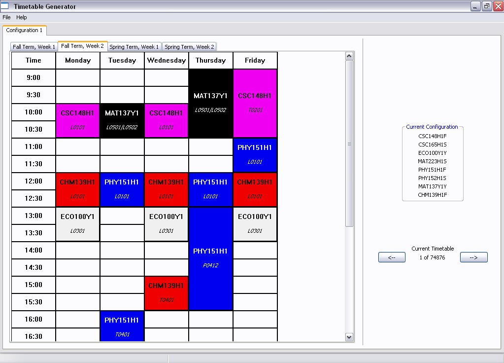 screenshot of Timetable Generator GUI
